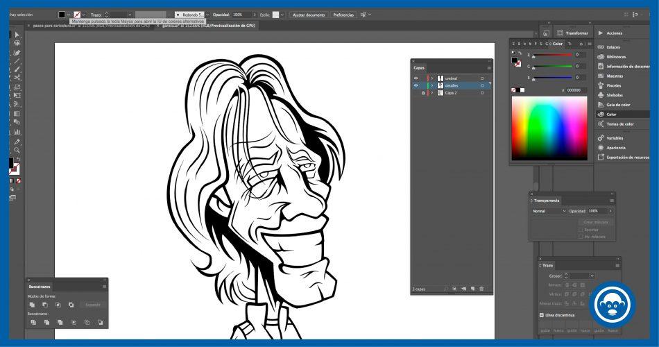 dibuja los contornos del dibujo en ilustrator