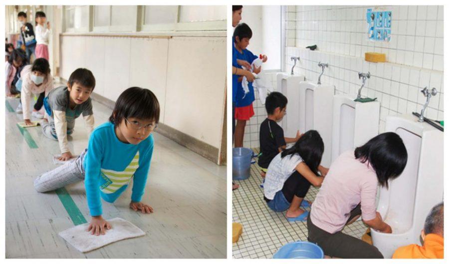 curiosidades de la cultura Japonesa Enseñan a sus niños desde temprana edad a hacer limpieza