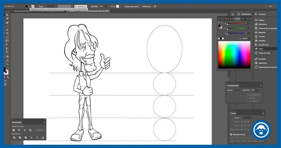 establece la proporción del cuerpo en ilustrador