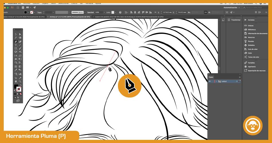 herramientas de dibujo para vectorizar imagen