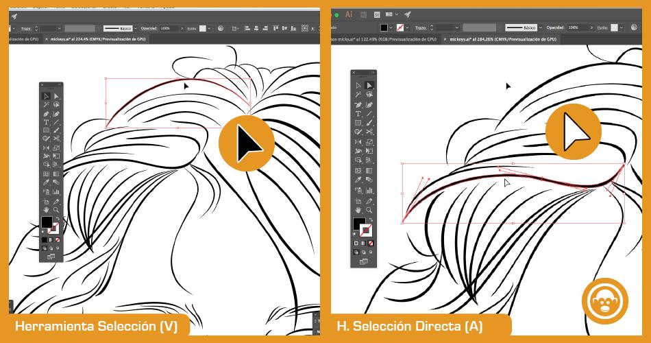herramientas de selección para vectorizar imagen