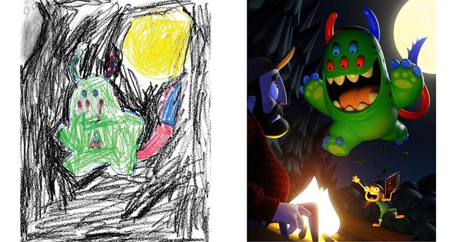 niños hacen dibujos de monstruos y luego son ilustrados por artistas