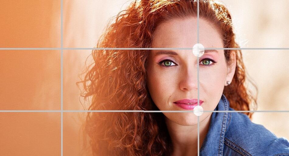 la regla de los tercios para composición fotográfica de retratos