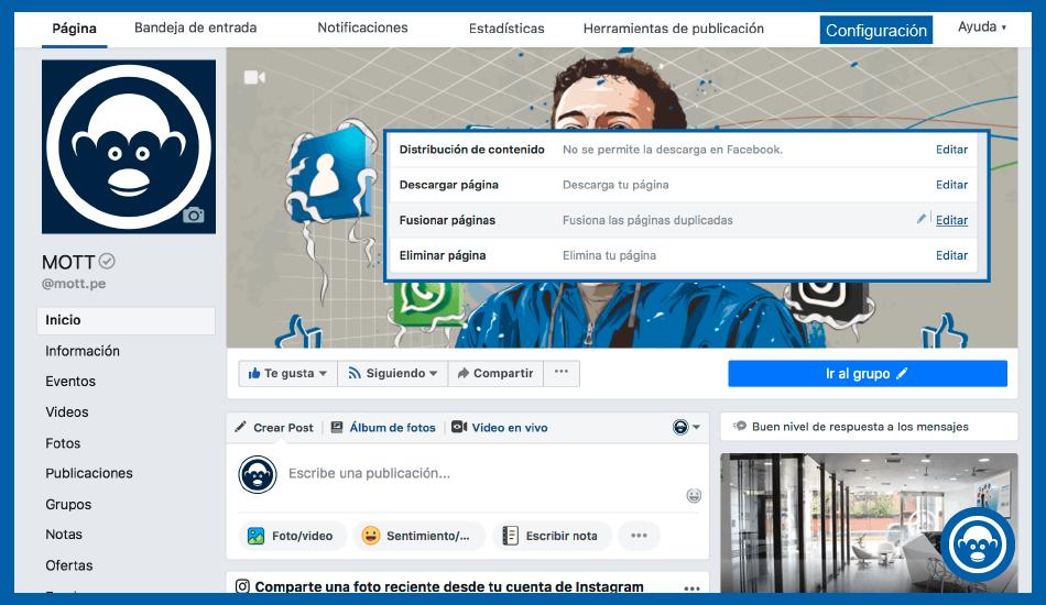 fusionar una página en Facebook