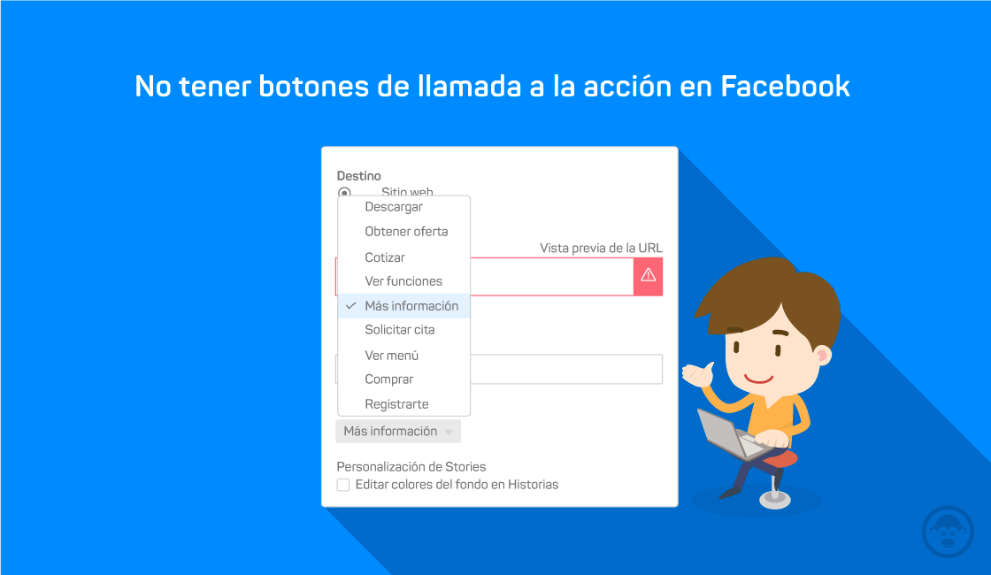 3. No tener botones de llamada a la acción en Facebook