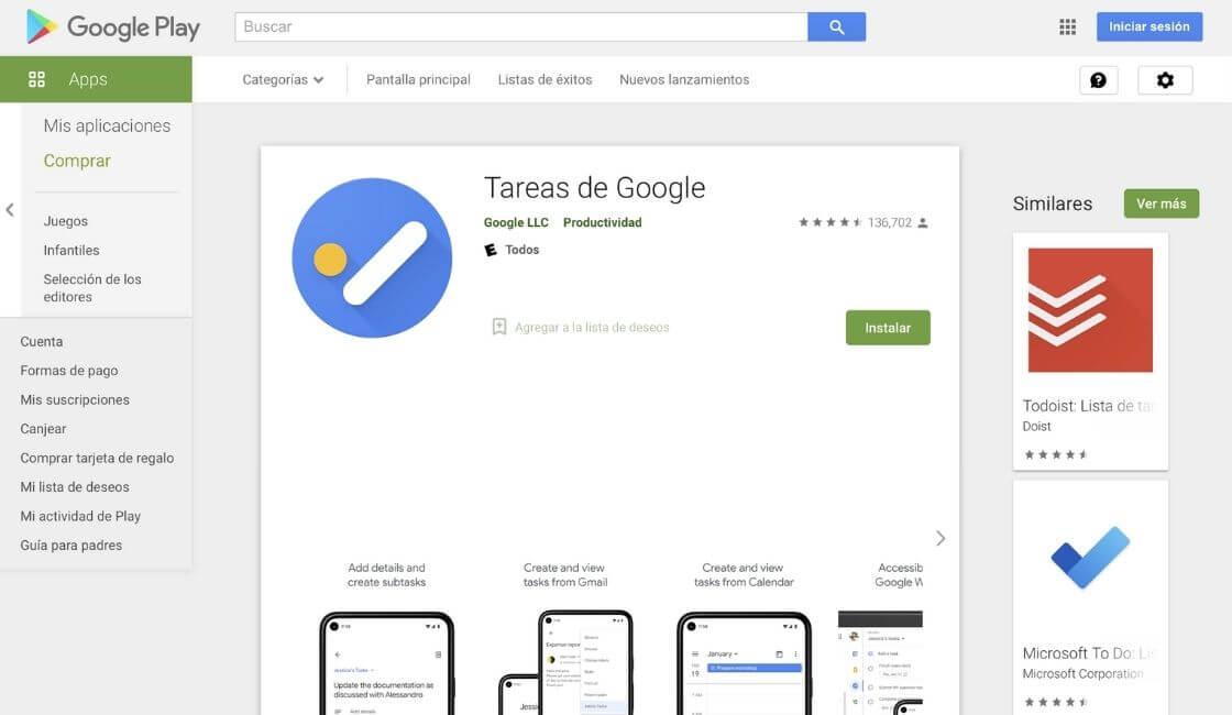 app Google Task para teletrabajo