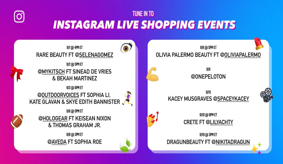 Evento de compras en Instagram