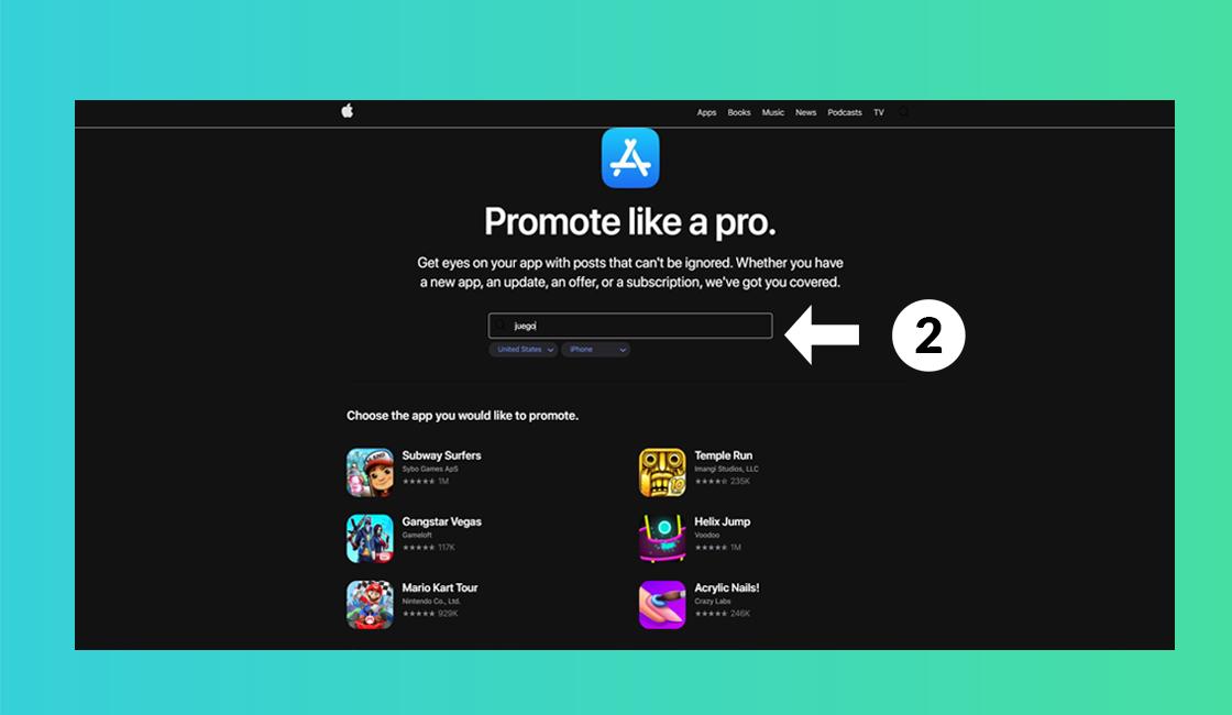 Aplicación de promoción de Apple