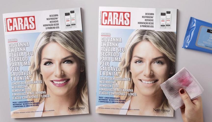 Neutrogena presenta un anuncio de revista al cual a la modelo le puedes quitar el maquillaje